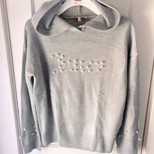 Juicy couture gray hooded logo sweater size medium